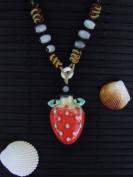 Aromatherapy Necklace - Strawberry - mini Amphora and Jade thread