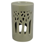 Tonal Oil Burner Tall Style with Carvings - Dark Tone Neutral Beige Grey