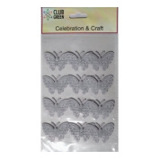 Club Green Self Adhesive Material Butterflies - Silver Glitter