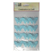 Club Green Self Adhesive Material Butterflies - Light Turquoise Glitter