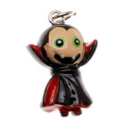 Hand Painted 3D Black and Red Vampire W/ Green Eyes Jewellery Charm 23mm