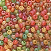 Czech Seed Beads 6/0 'Fall Harvest' Mix Green Red Orange