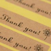 Kraft Brown Thank You Mini Sticker Sheet Labels x 36 - Craft / Wedding Favours