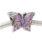 Silver Tone Two Sided Pink And Purple Butterfly Large Hole Bead Fits Pandora