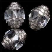 Czech Cathedral Glass Art Deco Beads 10mm Crystal Clear with Silver Ends