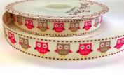 3M Pink and Beige Owl Ribbon. Decorative Ribbon For Gift Wrapping, Card Making, Crafts and Scrapbooking.
