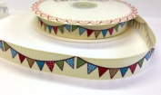 3M Green, Blue, Red and Beige Bunting Ribbon. Decorative Ribbon For Sewing, Gift Wrapping, Card Making, Crafts and Scrapbooking.