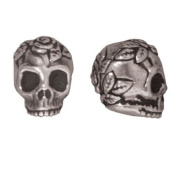 Fine Silver Plated Pewter Skull With Roses Beads 10mm