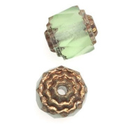 Czech Cathedral Glass Beads 8mm Matte Peridot Green with Gold Ends