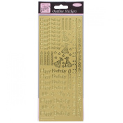 Anitas outline peel off craft stickers - Happy Birthday Gold