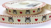 1M Owl and Heart Ribbon. Decorative Ribbon For Gift Wrapping, Card Making, Crafts and Scrapbooking.