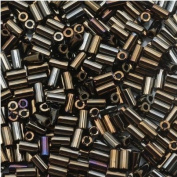 Toho Bugle Tube Beads Size #1 / 2x3mm Metallic iris Brown 8 Grammes