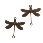 Vintaj Natural Brass 2-Hole Dragonfly Connector Beads 17mm