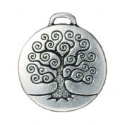 Fine Silver Plated Pewter Round Tree Of Life Pendant 26mm