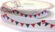 3M Red and Blue Bunting Ribbon. Decorative Ribbon For Sewing, Gift Wrapping, Card Making, Crafts and Scrapbooking.