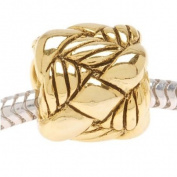 Antiqued 22K Gold Plated Woven Rope Bead - Fits Pandora
