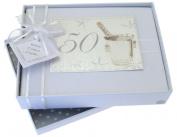 White Cotton Cards 50th Birthday Photo Album, Small, Silver Champagne