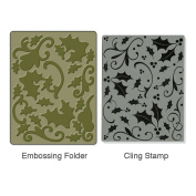 Sizzix Textured Impressions A2 Embossing Folder & Stamp Set-Holly Background By Hero Arts
