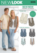 New Look A 6-16/ XS-XL Sewing Pattern 6036 Misses and Mens Vests