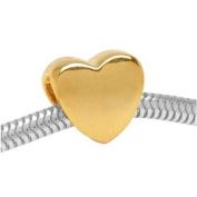 22K Gold Plated Heart Shaped Large Hole Bead Fits Pandora