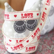 Vintage Red Love & Hearts Grosgrain Ribbon 1m - Craft / Wedding Favours / Gift Wrap