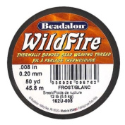 Wildfire Thermal Bonded Beading Thread .20cm - White- 50 Yd