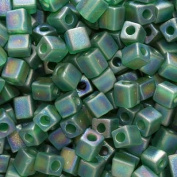 Miyuki 4mm Glass Cube Beads Transparent Frosted Green AB #146FR 10 Grammes