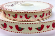 3M Red Birds and Hearts Ribbon. Decorative Ribbon For Sewing, Gift Wrapping, Card Making, Crafts and Scrapbooking.
