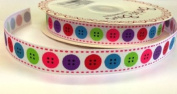 3M Bright Button Print Ribbon. Decorative Ribbon For Sewing, Gift Wrapping, Card Making, Crafts and Scrapbooking.
