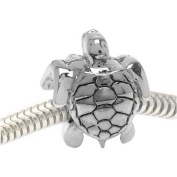 Silver Tone Two Sided Sea Turtle Large Hole Bead Fits Pandora