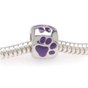 Silver Tone Large Hole Bead With Purple Enamel Paw Prints Fits Pandora