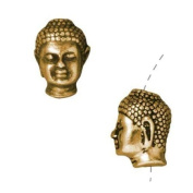 22K Gold Plated Pewter Buddha Head Beads 13.5mm