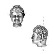 Fine Silver Plated Pewter Buddha Head Beads 13.5mm