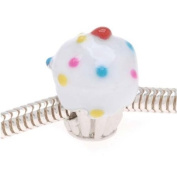 Silver Tone Cupcake Bead With White Enamel Frosting And Sprinkles - Fits Pandora