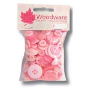 Woodware Mixed Buttons - Baby Pink Assortment