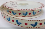 3M Blue Birds and Hearts Ribbon. Decorative Ribbon For Sewing, Gift Wrapping, Card Making, Crafts and Scrapbooking.