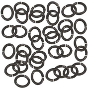 Black Finish Pewter Open Oval Jump Rings 6mm 20 Gauge