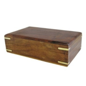 Medium Hand Carved Wooden Storage Jewellery Box - Brass Corner Detailing