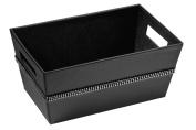 Premier Housewares Rectangle Storage Box with Diamante Detail, Black