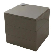 High Gloss Jewel Box Swivel 3 Compartments Cube - Dark Tonal Neutral Beige