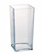 Clear Acrylic Cube Vase Hard Wearing Lightweight Durable Plastic 25cm High