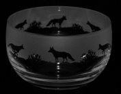 FOX ~ Large Crystal Glass Bowl with Fox Frieze ~ *Animal Gift*