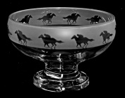 Horse & Jockey - Glass Footed Bowl with Frosted Frieze Equestrian design *Horse Equine Gift*
