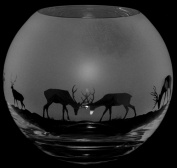 15cm Crystal Glass Globe Vase with Stags Frieze *Deer Gift*