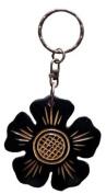 """Airbrush """"beautiful brown flower keychain"""" aus Indonesien/Bali 5x5x0.4 cm 10 Stück"""