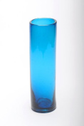 Cylindrical Vase, recycled, handblown glass (37cm) - Turquoise
