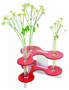 Flower vase with 3 glass cylinders red - Werkhaus