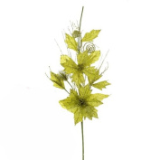 Green Glitter Artificial Flower Stem - Ideal For Christmas Table Or General Interior Display