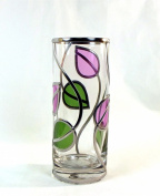 Hand Decorated Art Deco Style Cylinder Glass Vase 20cm. Beautiful Art Nouveau Leaf Design In Rennie Mackintosh Style