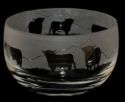 HIGHLAND COW ~ Large Crystal Glass Bowl with Cattle Frieze ~ *Animal Gift*